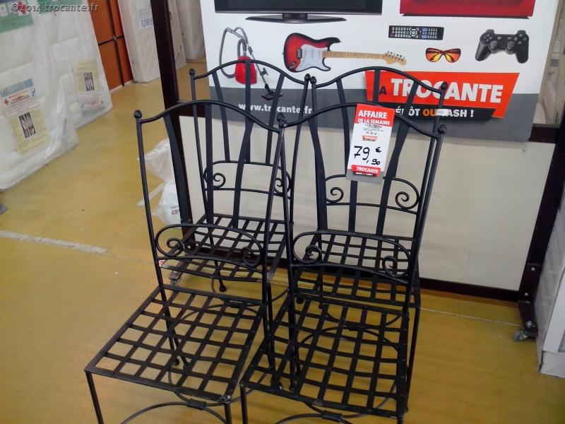 jn serie 4 chaises fer forger sans coussin la trocante d posez et encaissez. Black Bedroom Furniture Sets. Home Design Ideas