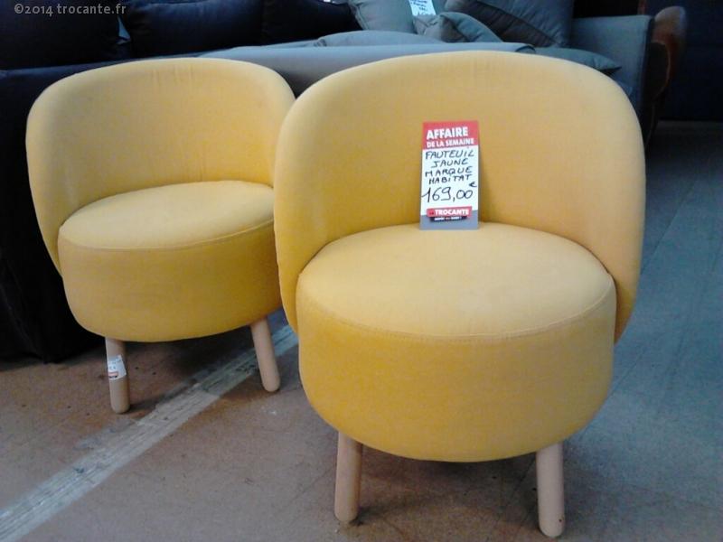 fauteuil tissus jaune modele bold habitat la trocante