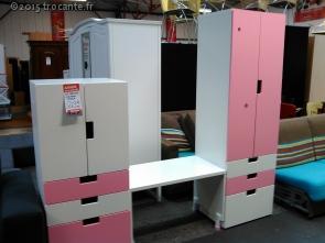 Lot d armoires bureau ikea rose et blanc la trocante déposez