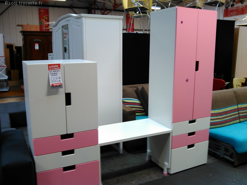 Lot d armoires bureau ikea rose et blanc la trocante for Bureau blanc et rose