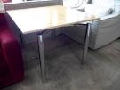 TABLE CARREE PLATEAU PLAC MERISIER PIEDS CHROMES