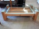 TABLE BASSE MELA TIROIR/2 PLATEAUX VERRE