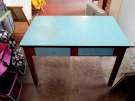 TABLE HETRE FORMICA BLEU 2 TIROIRS