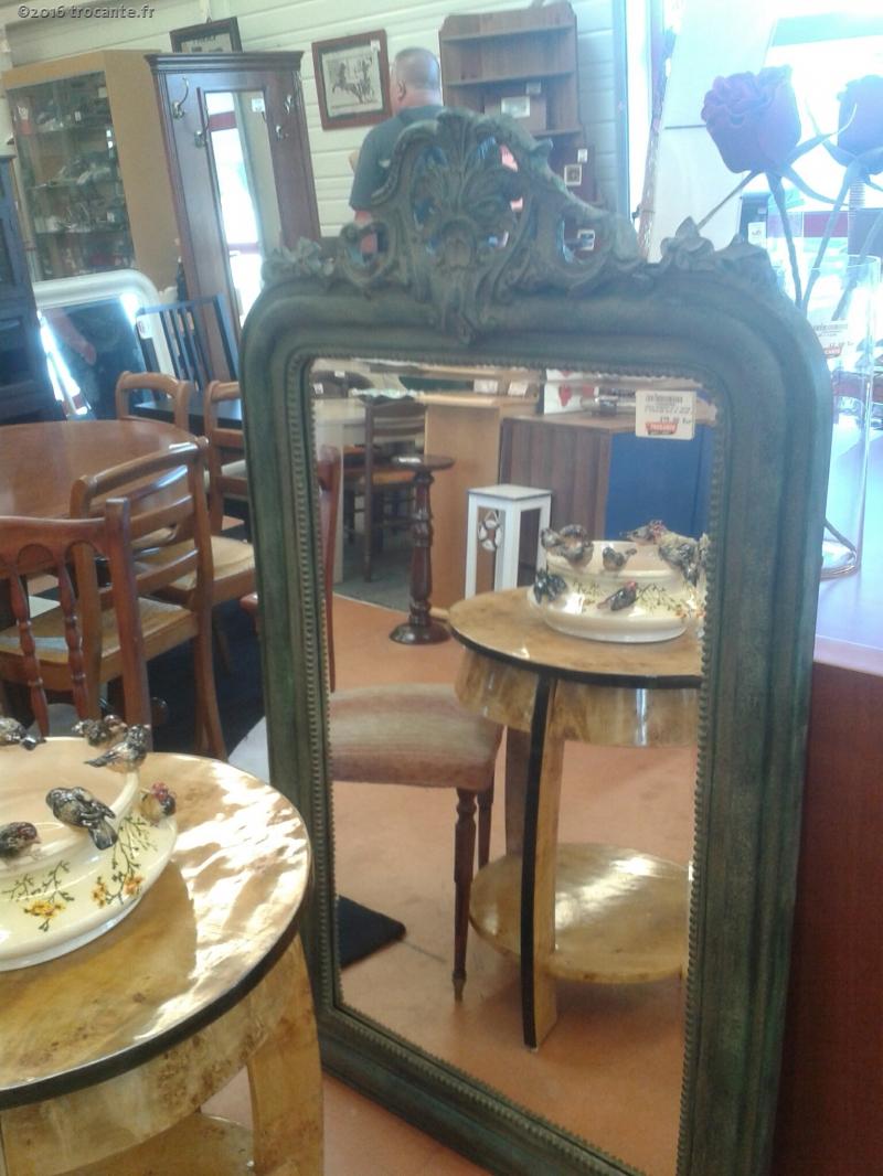 miroir biseaute st lp patine vert structure bois et resine 8488 la trocante d posez et encaissez. Black Bedroom Furniture Sets. Home Design Ideas