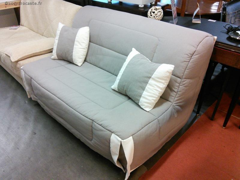 banquette bz tissus gris beige matelas dunlopillo la trocante d posez et encaissez. Black Bedroom Furniture Sets. Home Design Ideas