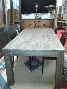 TABLE RECTANGLE TECK MASSIF TAUPE