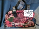 SAC A MAINS DESIGUAL ROUGE ET MARRON