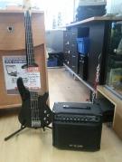 ENS GUITARE SANTANDER + AMPLI HY-X-AMP BASS-20+ PIED + REPOSE PIED