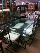 TABLE RECT FER FORGE + 6 CHAISES