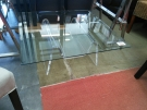 TABLE BASSE CARREE VERRE+PIED PLEXI.