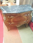 COMMODE MARQUETERIE 2T DESSUS MARBRE