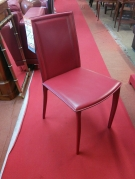 SERIE 4 CHAISES MODERNE ENTIEREMENT CUIR ROUGE