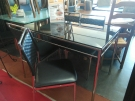 ENSEMBLE TABLE PLATEAU VERRE PIED METAL + 4 CHAISES DOSSISER TRESSE ASSISE SIMIL