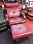 FAUTEUIL RELAX + REPOSE PIEDS CUIR ROUGE ROCHE BOBOIS
