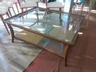 TABLE BASSE 110X90 VERRE BOIS TEINTE MERISIER