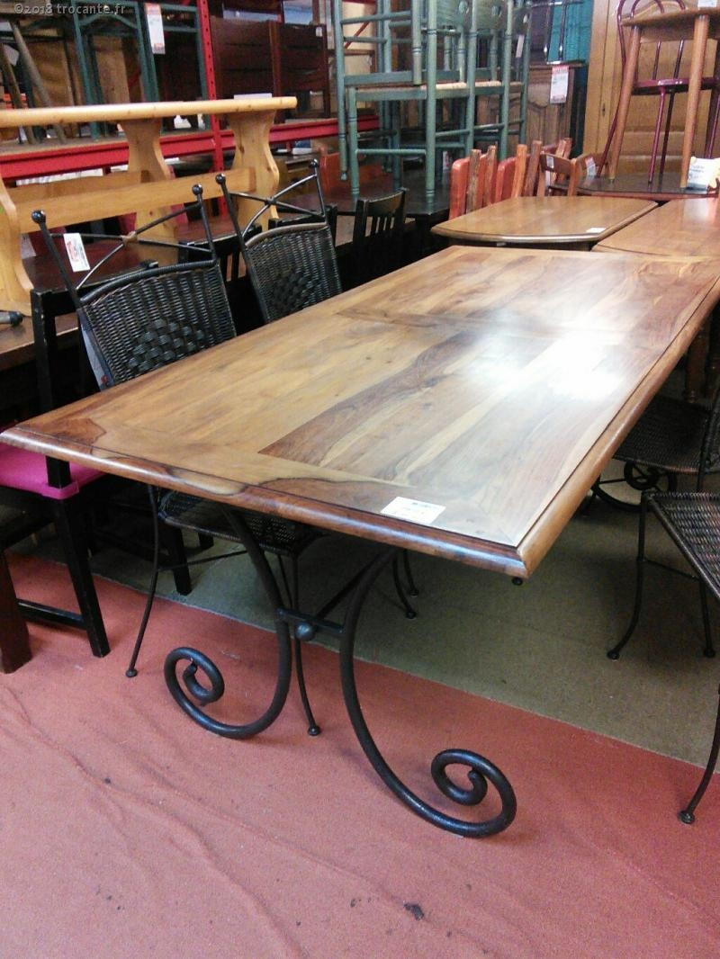 table rectangle pied fer forge plateau bois exot la