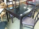 TABLE PIED WENGE PLATEAU VERRE NOIR + ALLONGE