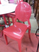 SERIE 4 CHAISES PVC ROUGE FORME MEDAILLON
