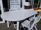 TABLE OVALE+1 ALLONGES BLANCHE JARDIN