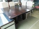 TABLE CARRE BOIS EXOTIQUE FONCE TGM