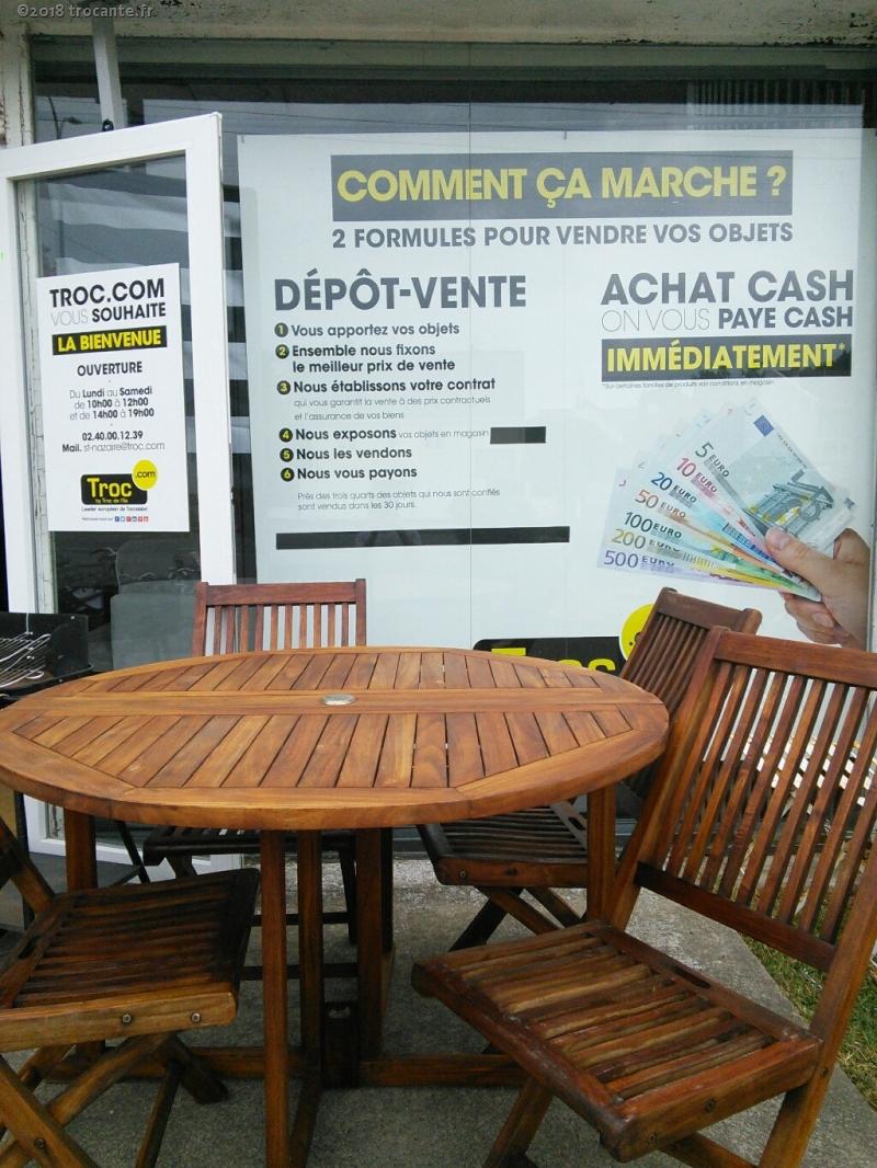 SALON DE JARDIN BOIS EXOTIQUE 4 CHAISES + TABLE PLIANTE - La ...