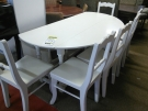ENSEMBLE TABLE A VOLET BLANCHE GM + 6 CHAISES BLANCHES