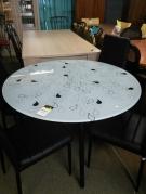 TABLE RONDE VERRE NOIR ET BLANC