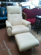 FAUTEUIL RELAX+REPOSE PIED CUIR ECRU CHATEAU D'AX