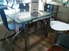 TABLE HAUTE PIEDS CHROME PLATEAU VERRE 2 ALLONGES
