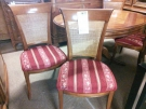 SERIE 4 CHAISES DOSSIER ST CANNAGE ASSISE TISSUS ROUGE