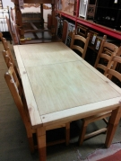 ENSEMBLE TABLE RECT 1ALL PORTEFEUILLE + 6 CHAISES PIN
